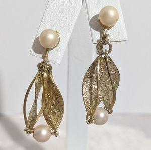Vintage Gold & Faux Pearl Dangle Screw Earrings